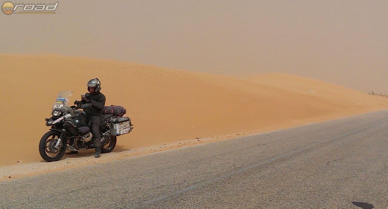 Mauritánia, első nap, folyamatos homokvihar