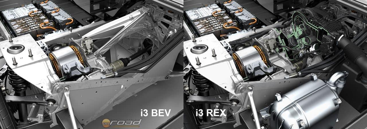 Balra a BMW i3 alapváltozatának motortere, jobbra pedig ugyanaz hatótáv-növelő belsőégésű motorral