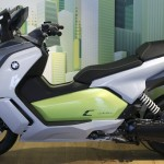 A BMW C evolution electric maxi-scooter is displayed at the BMW motorcycle plant in Berlin