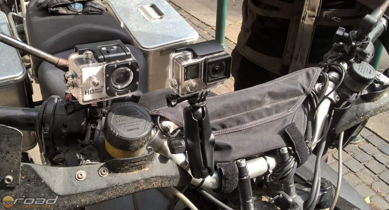 Így dolgoztunk: itt éppen a saját, Onroados videókhoz használt SJ4000-esünk vizsgázik a GoPro Hero4 ellenében