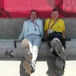 Útvonalbiztosítás Baku túra Onroad 20150614_A vezető bíró és motorosa Patesz pihenés közben