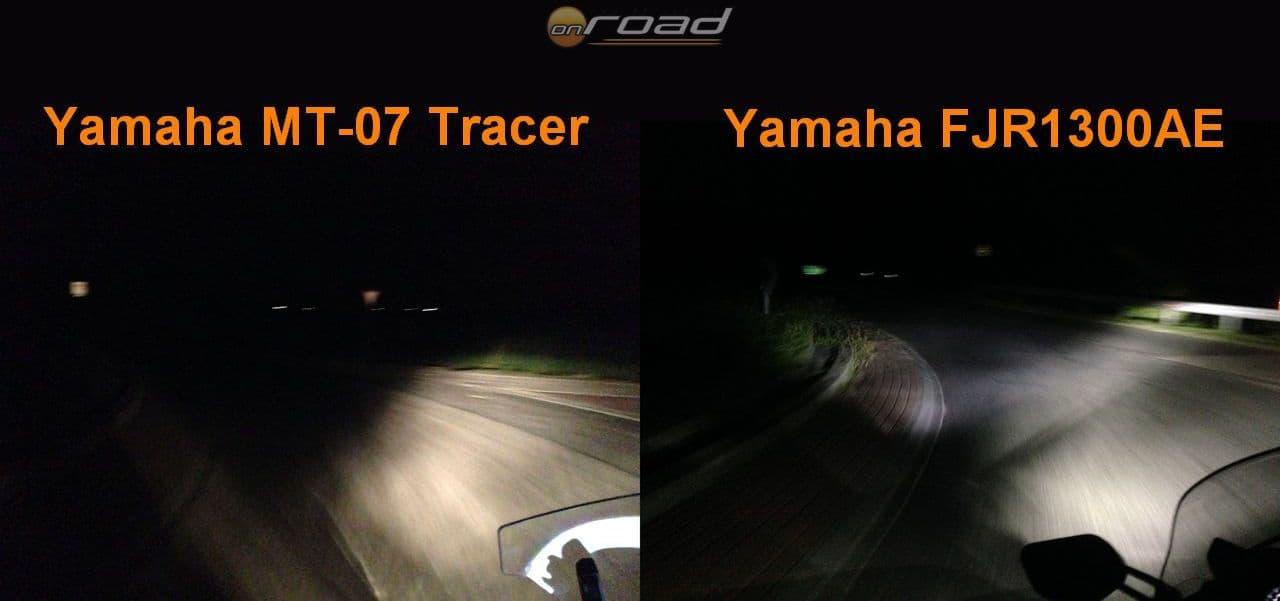 Az összehasonlításként hozott Tracer700 lámpája addig jónak tűnt, ameddig az FJR-t oda nem tettük mellé