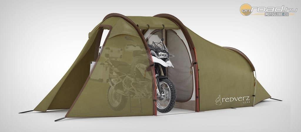 Első alternatíva: bent van a motor a sátorban, de annak hatalmas a helyigénye
